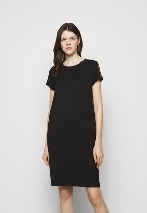 GRID DRESS - Jersey dress - black