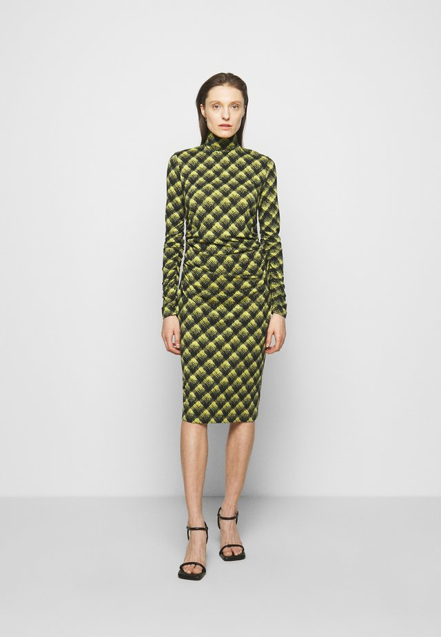 SHEER DRESS - Jerseyjurk - olive/black brushed plaid