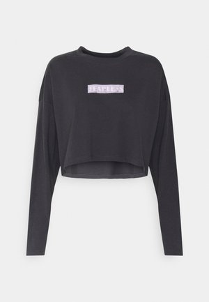 NMFRIDA SEMI CROPPED - Long sleeved top - obsidian/front