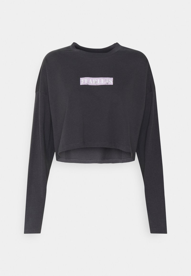 Noisy May - NMFRIDA SEMI CROPPED - Long sleeved top - obsidian/front
