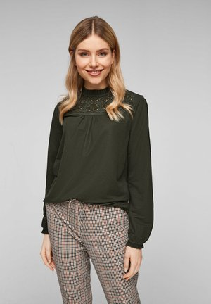 MIT STICKEREI PASSE - Blouse - khaki