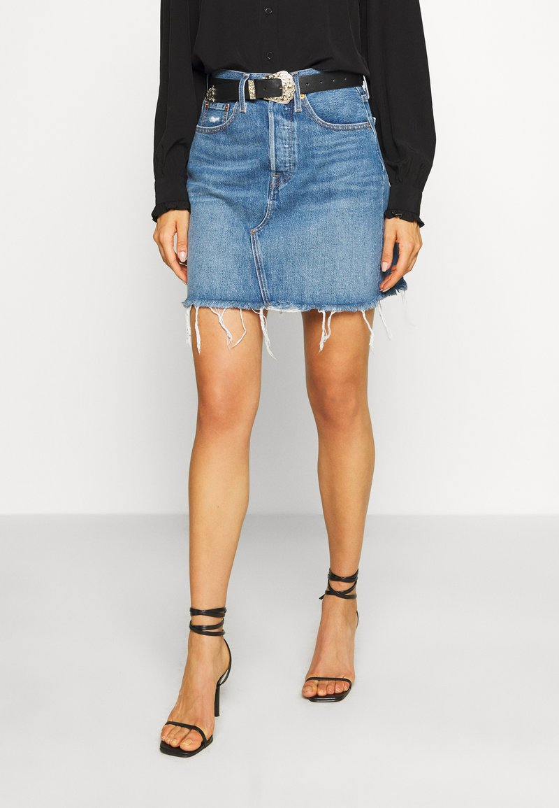 Levi's® - DECON ICONIC SKIRT - A-linjainen hame - stone blue denim