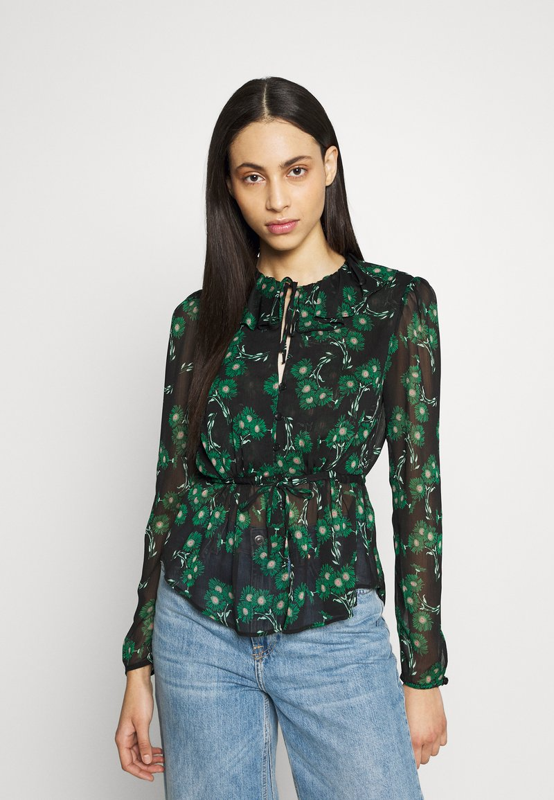 Topshop Tall - ARCH DAISY FLORAL BED - Blouse - green