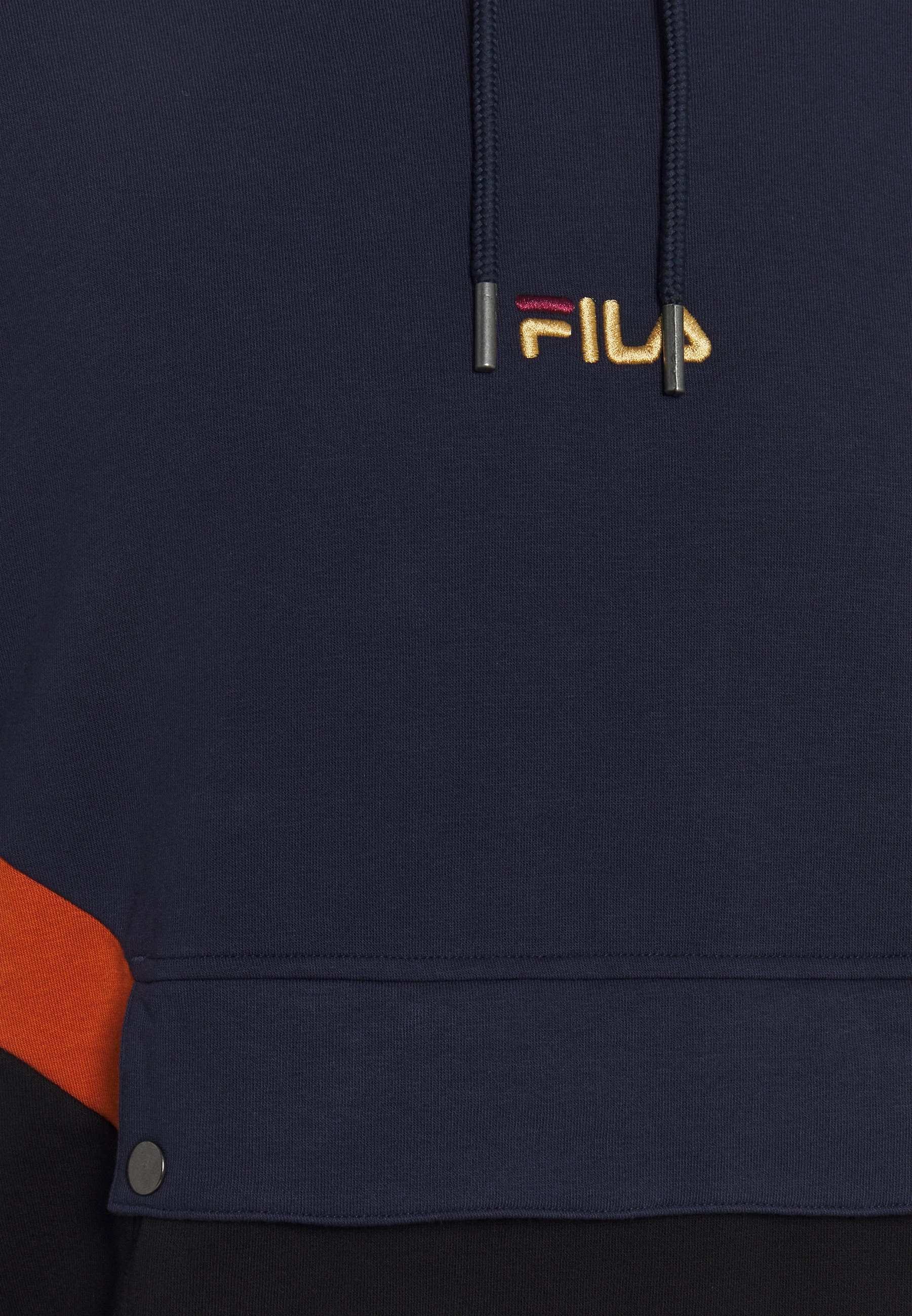 Fila Walter Blocked Hoody - Hoodie Black/black Iris/cinnamon Stick/mørkeblå