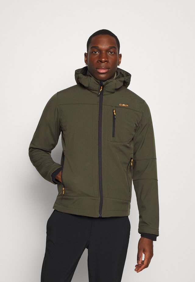 MAN JACKET ZIP HOOD - Softshelljas - oil green/nero