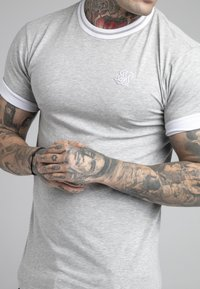 SIKSILK - ROLL SLEEVE TEE - T-shirt basic - grey/white - 4