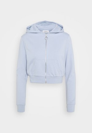 CROPPED SLIM FIT HOODIE  - Felpa aperta - blue