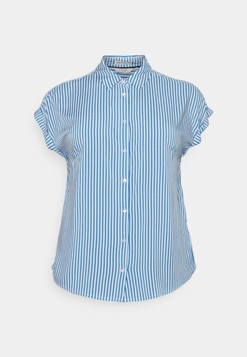 BLOUSE WITH SHORT SLEEVE - Button-down blouse - marina/white