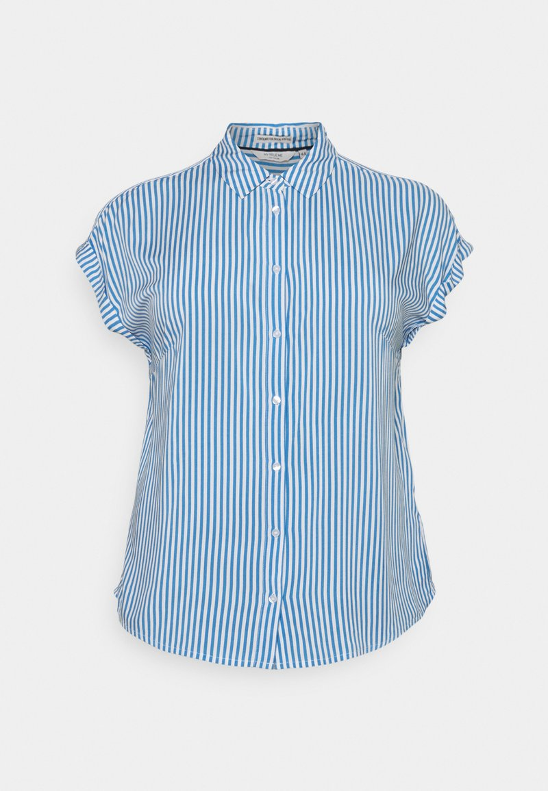 MY TRUE ME TOM TAILOR - SHORT SLEEVE - Button-down blouse - marina/white