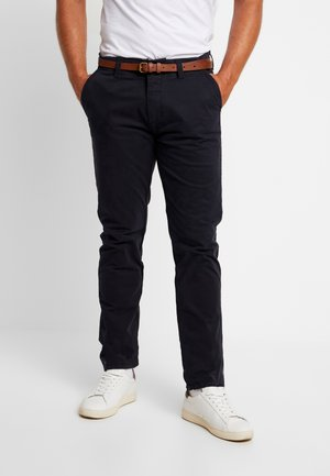 PRESLEY PANTS WITH BELT - Chinos - navy