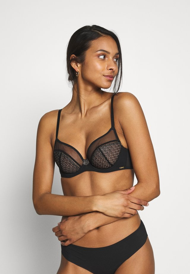 GRAPHIC LUXE NON PADDED PLUNGE BRA - Underwired bra - black