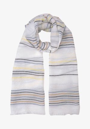 Scarf - creme blue yellow stripe