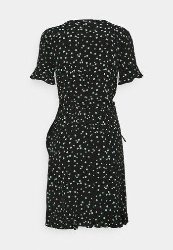 MINI  WRAP DRESS - Day dress - black