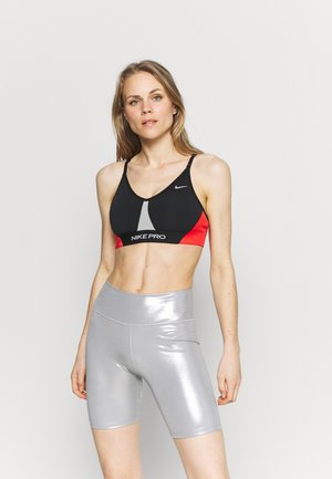 INDY PRO BRA - Sujetadores deportivos con sujeción ligera - black/white/chile red/metallic silver