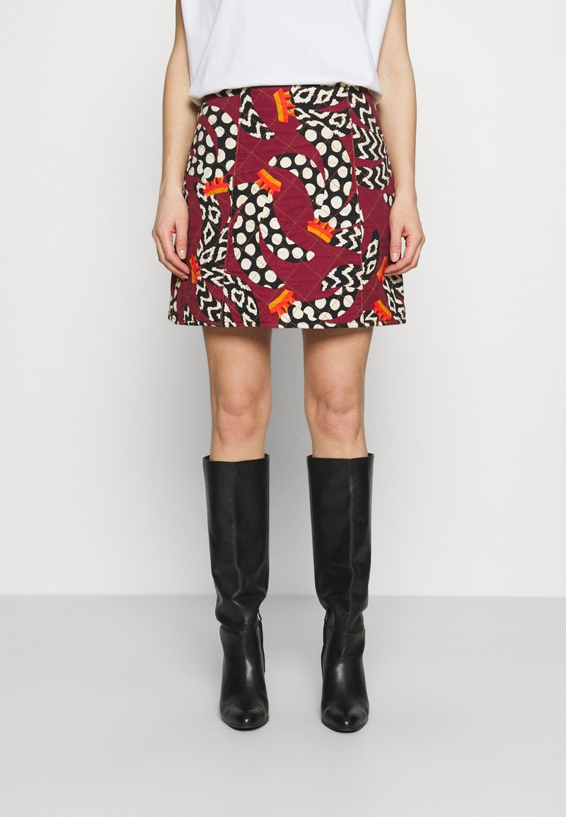 Farm Rio - ETHNIC BANANAS MINI SKIRT - Mini skirt - bordeaux