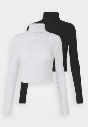 2 PACK - Long sleeved top - black/grey