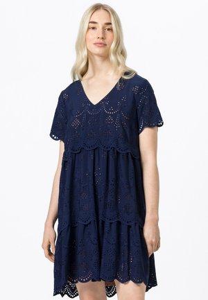 MIT LOCHSTICKEREI - Day dress - tintenblau