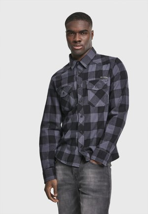 HERREN CHECKSHIRT - Skjorta - black/charcoal
