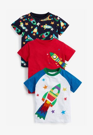 3 PACK  - Camiseta estampada - red / blue