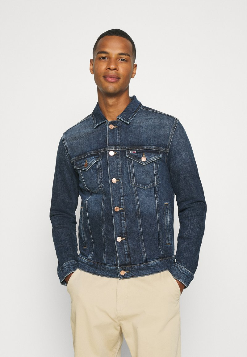 Tommy Jeans - REGULAR TRUCKER JACKET - Denim jacket - denim dark