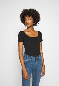 GAP - POINTELLE  - T-shirt z nadrukiem - true black - 0