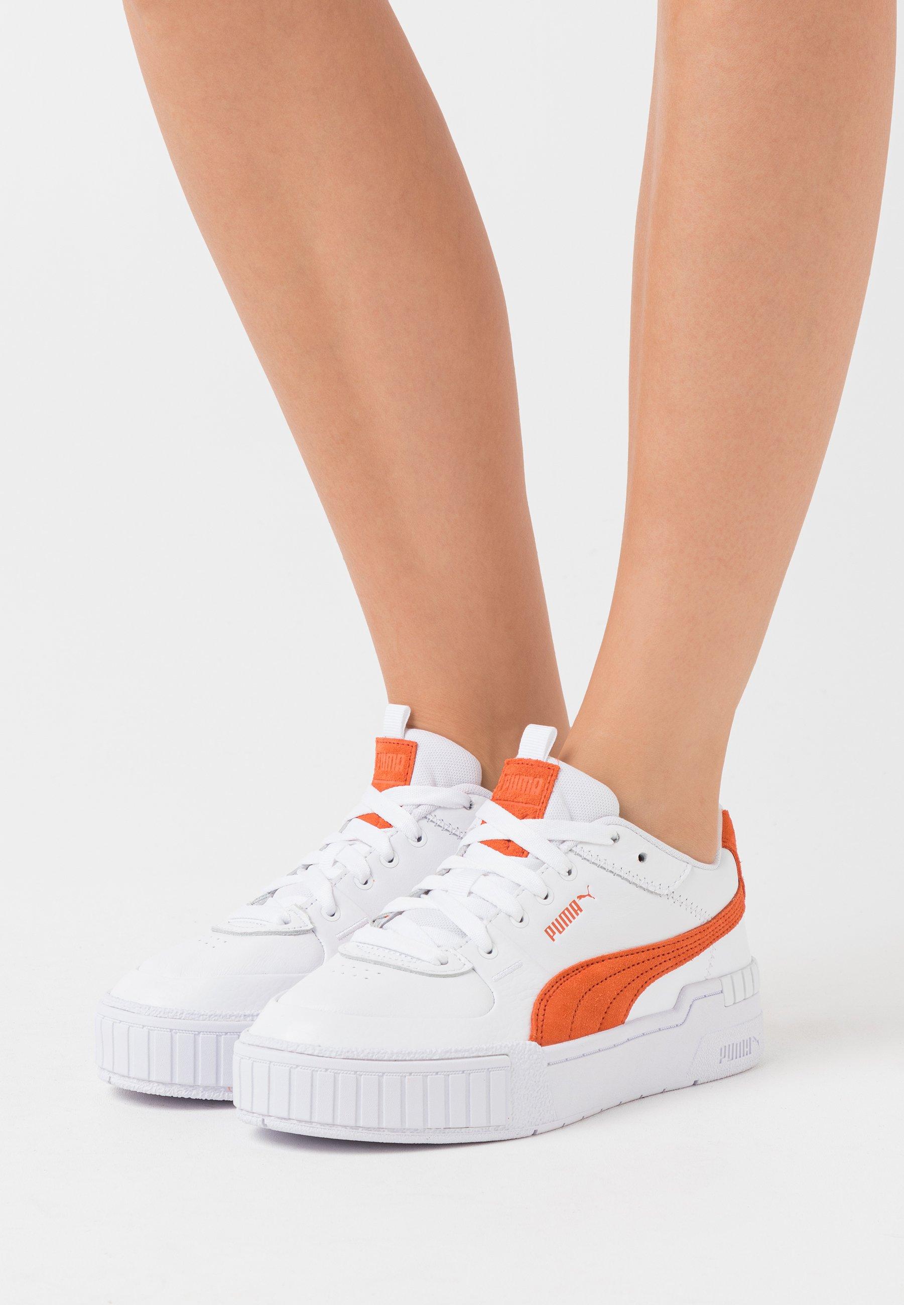 Puma CALI SPORT - Baskets basses - white/ultra orange/orange ...