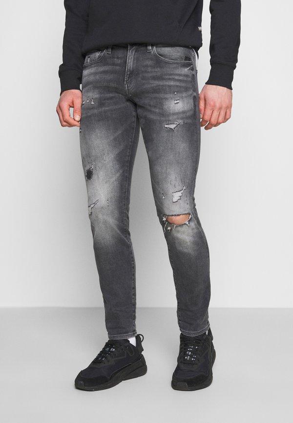 G-Star REVEND SKINNY - Jeansy Skinny Fit - vintage ripped basalt/szary denim Odzież Męska HTRX