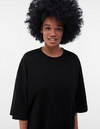 Bershka - OVERSIZED UNISEX - T-shirt - bas - black - 7