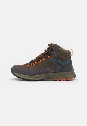 VERVE MID WP - Hiking shoes - khaki/dark grey/orange