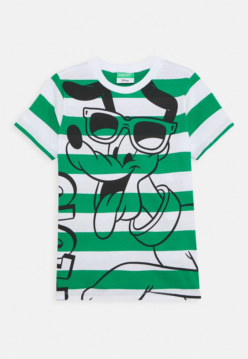 Benetton - T-shirt z nadrukiem - green/white