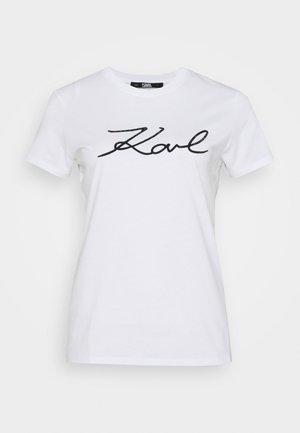 LOGO RHINESTONE - T-shirt con stampa - white