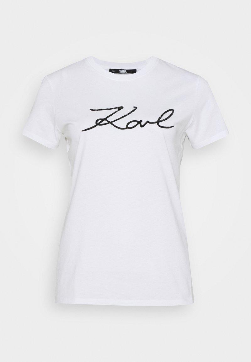KARL LAGERFELD - LOGO RHINESTONE - T-shirt z nadrukiem - white