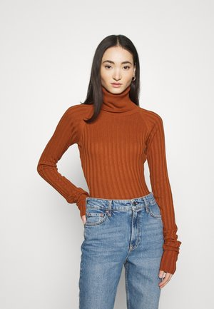 STEFANIE GIESINGER X nu-in EXTRA LONG SLEEVE RIBBED BODYSUIT - Jumper - burnt orange
