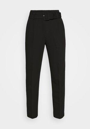 BELTED SUIT PANTS - Trousers - black