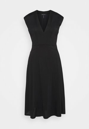 V NECK DRESS - Žerzejové šaty - black