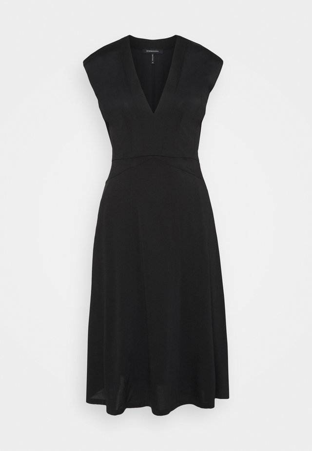 V NECK DRESS - Jerseyjurk - black