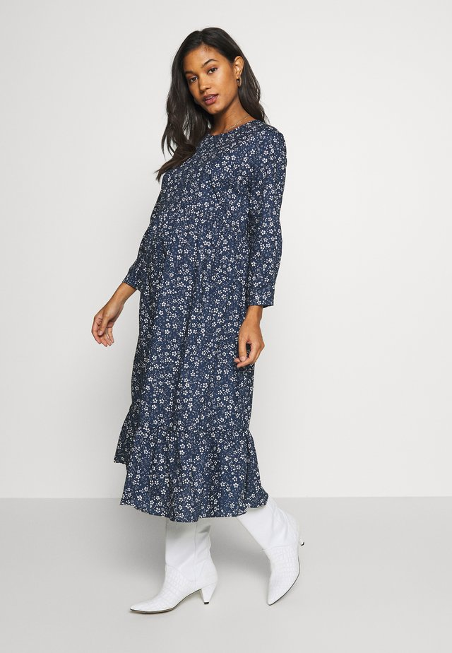 MIDI TIERED - Kjole - navy ground/white ditsy
