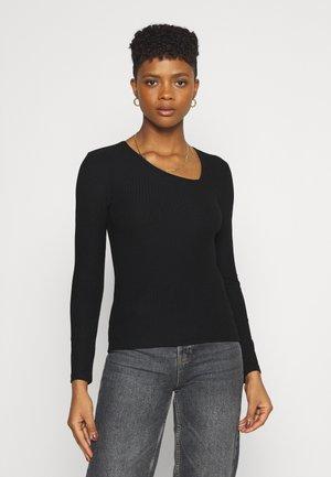 ONLNELLA SIDE V NECK - Long sleeved top - black
