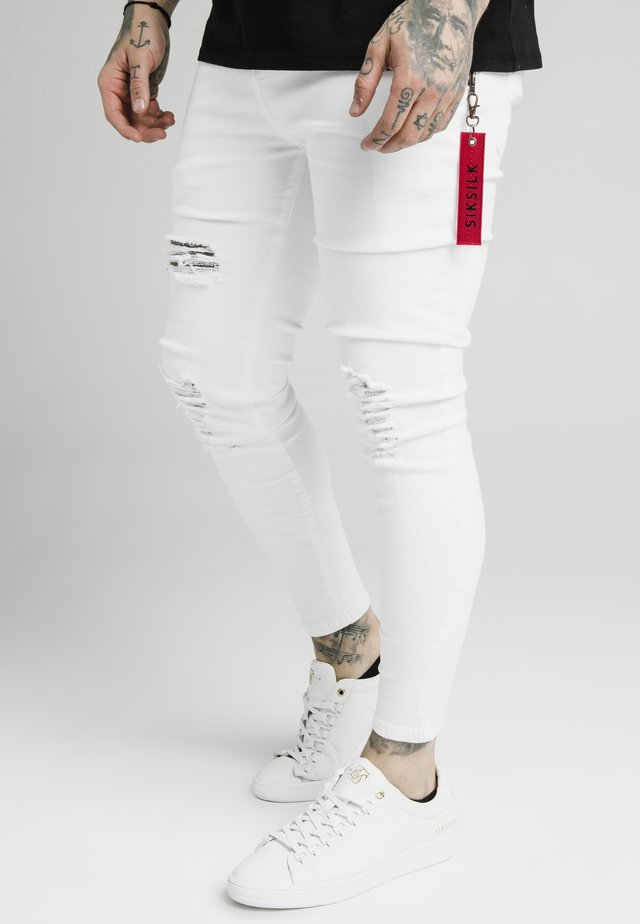 DISTRESSED  WITH ZIP DETAIL - Jeans Skinny Fit - white