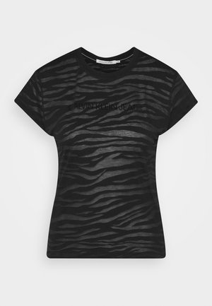 BURN OUT ZEBRA LOGO - Print T-shirt - black
