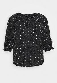 Dorothy Perkins Curve - MONO SPOT RUFFLE 3/4 SLEEVE - Long sleeved top - black - 0