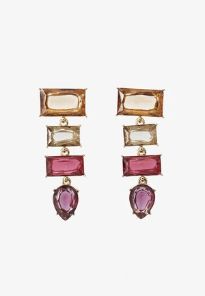 PCKRYSTALOS EARRINGS - Boucles d'oreilles - gold-coloured/red