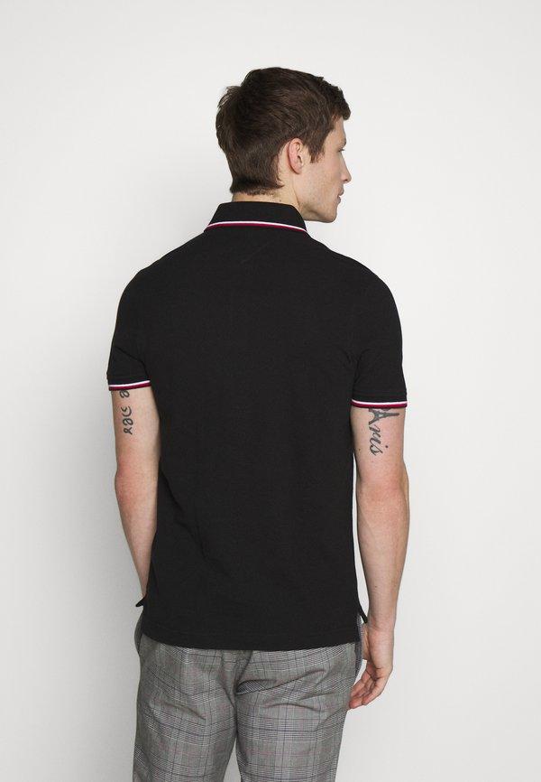 Tommy Hilfiger TIPPED SLIM FIT - Koszulka polo - black/czarny Odzież Męska ZDGO