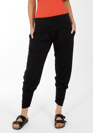 ROLL TOP HAREM YOGA - Pantalones - black
