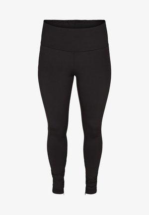 MIT REISSVERSCHLUSS - Leggings - Trousers - black