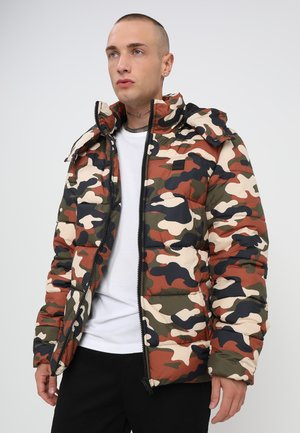 CAMO PUFFER JACKET - Winter jacket - brown