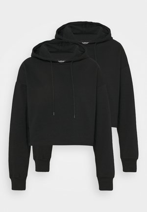 2 Pack - Cropped Oversized Hoodie - Sweatshirt - black
