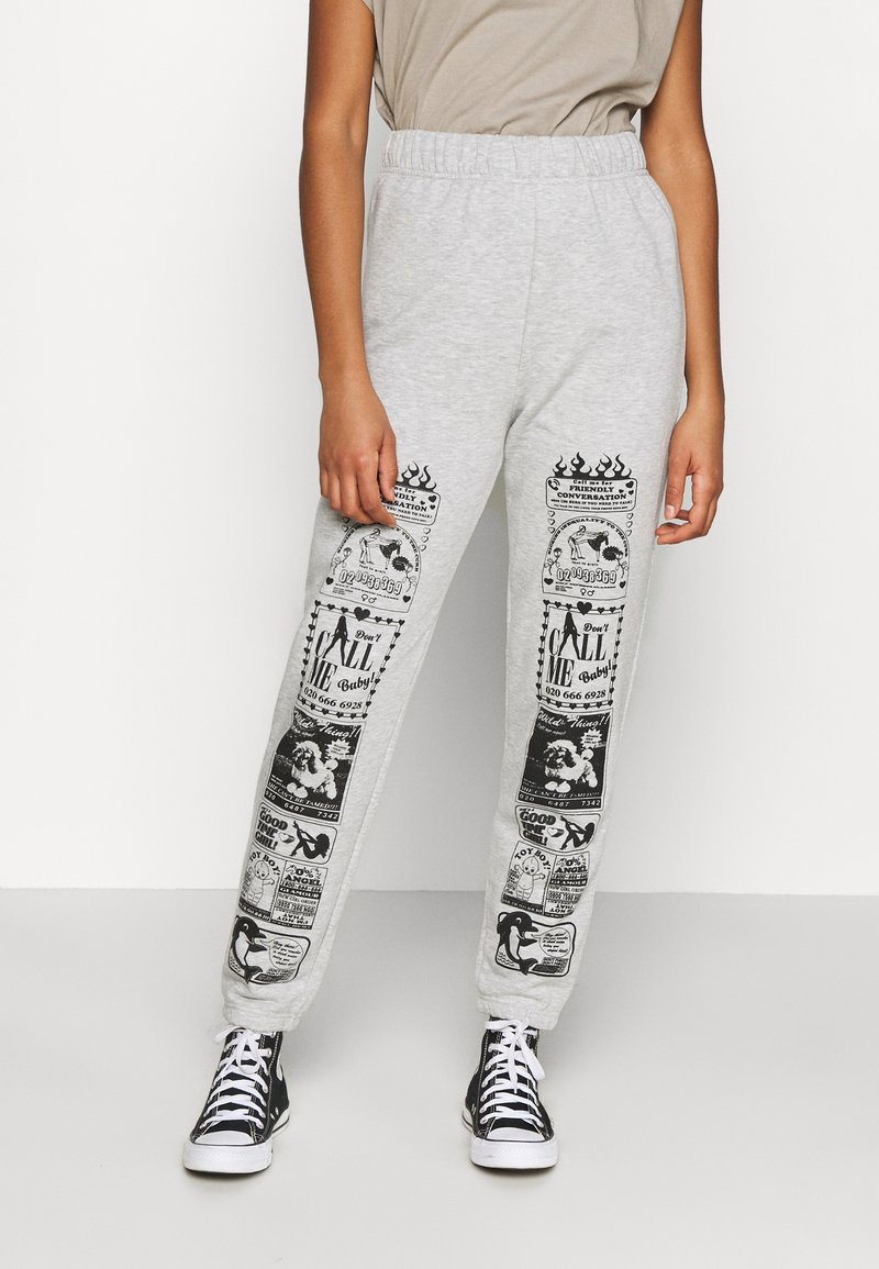 NEW girl ORDER - CONVERSATION JOGGERS - Tracksuit bottoms - grey