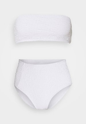 BANDEAU AND HIGH LEG HIGH WAIST BRIEF SET - Bikini - white