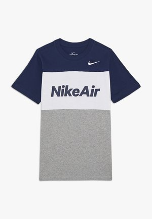 AIR TEE - Print T-shirt - midnight navy/white/grey heather
